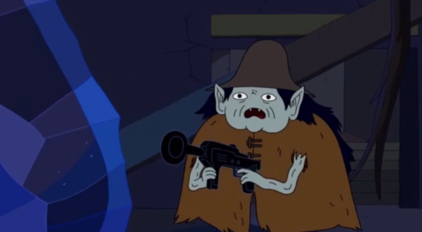 S5 e1 1000 year old person with gun