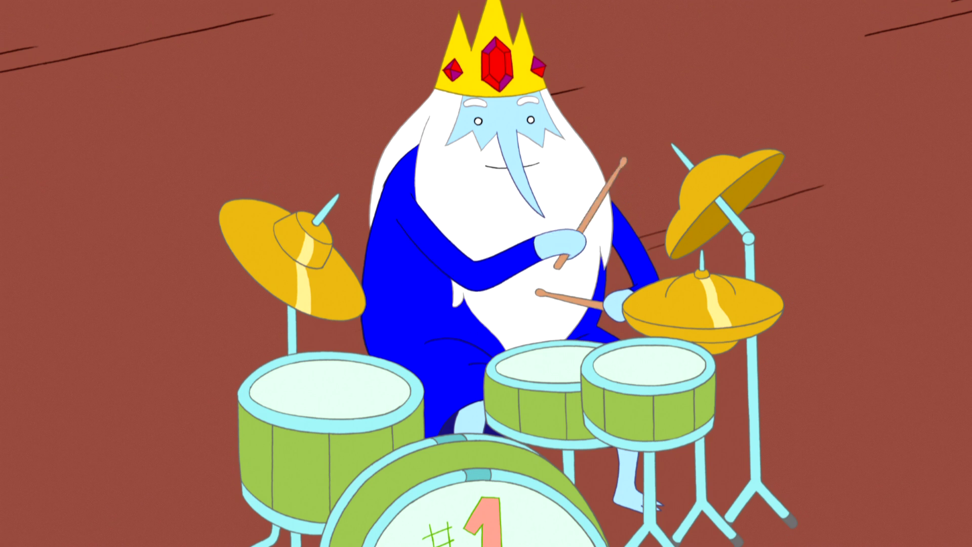 S5 e5 Tiny Ice King playing drumset