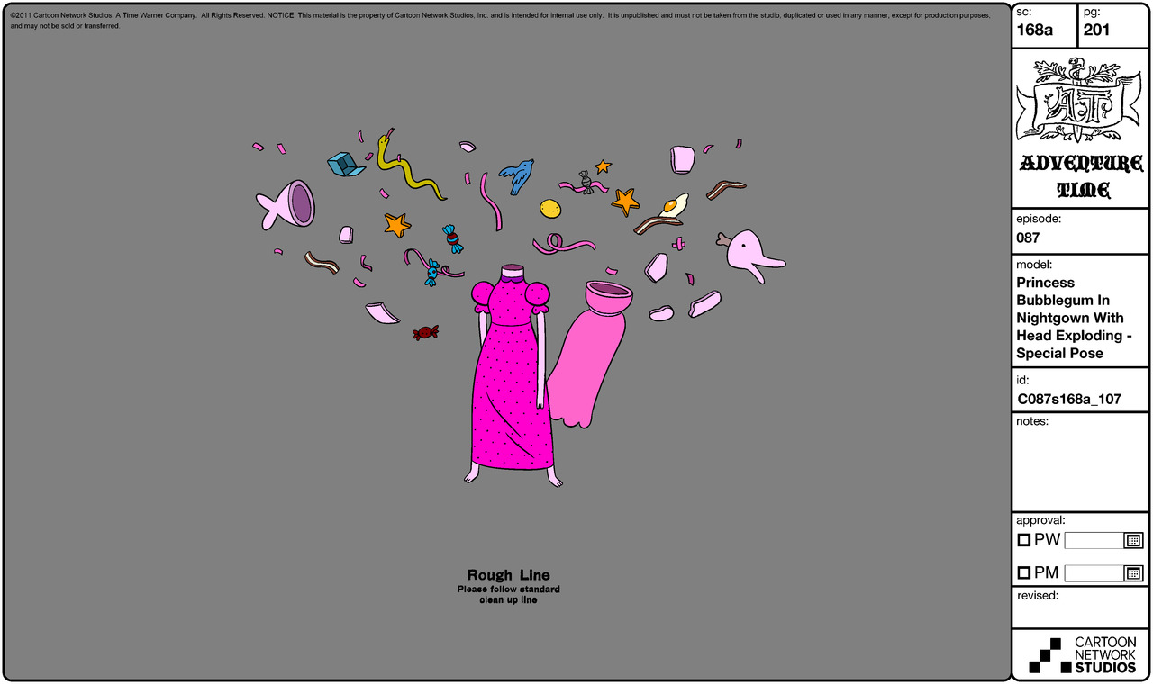 Modelsheet princessbubblegum innightgown withheadexploding - specialpose