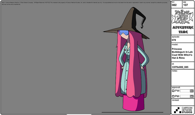 Modelsheet princessbubblegum inlabcoat withwitchshat rims