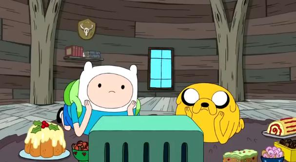 S3e19 Finn and Jake watching videotape