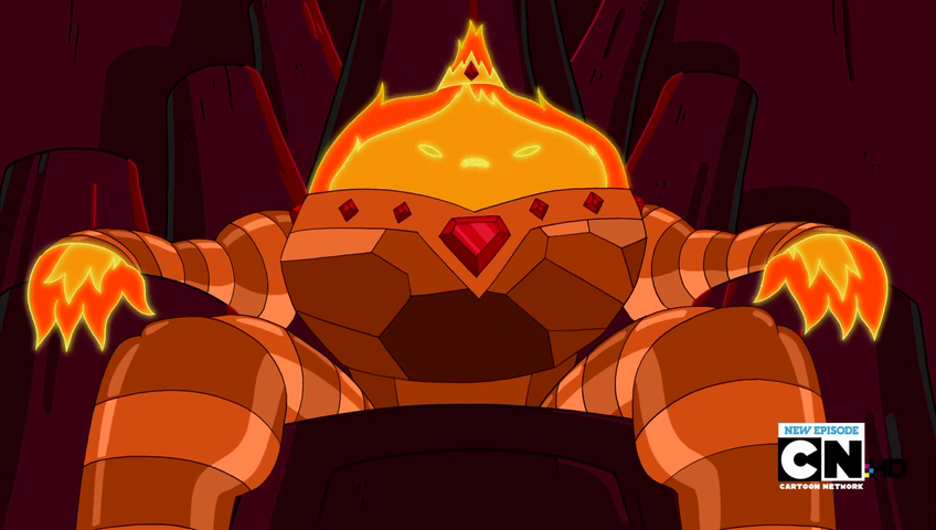 S3e26 Flame King on throne