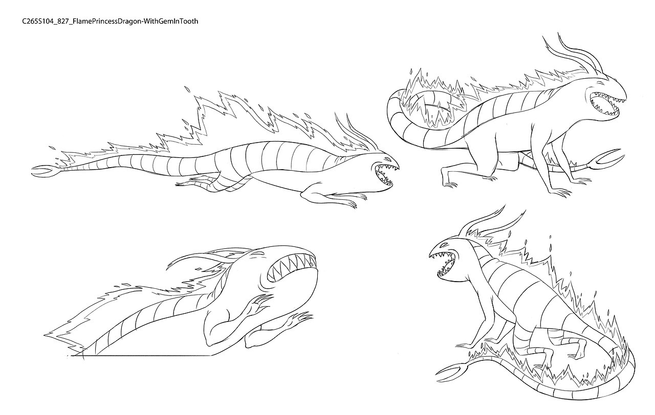 S8E21 Flame Prncess Dragon with Gem in Tooth by character & prop designer Nooree Kim