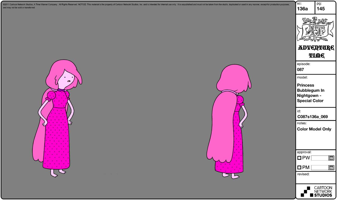 Modelsheet princessbubblegum innightgown - specialcolor