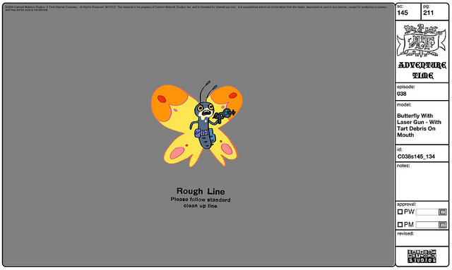 Modelsheet Butterfly with Laser Gun - with Tart Debris on Mouth