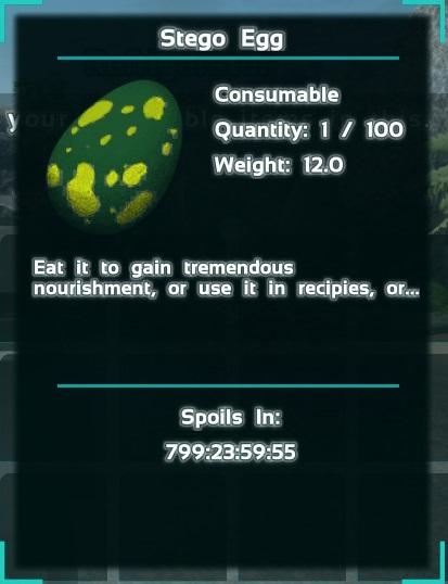 """Un Huevo de Stegosaurus en una Nevera. El texto """"Se pudre en ..."""" es el valor máximo posible debido a las fracciones de segundo requeridas para tenerlo en el contenedor."""