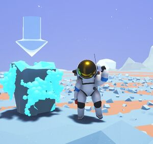 An Astroneer standing near a spire of harvestable Oxygen Crystals.