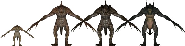 A deathclaw in all the major stages of its life.