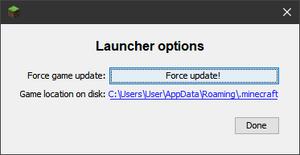 Launcher-Optionen