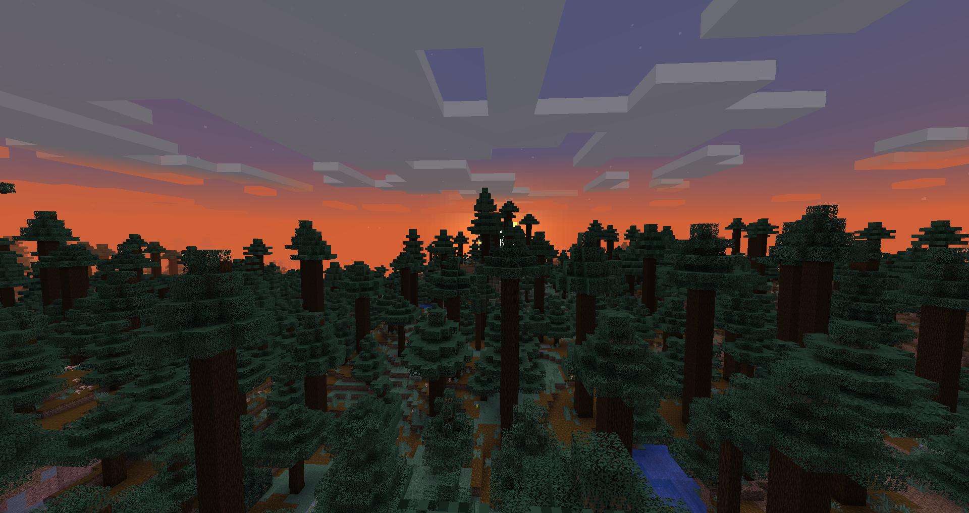 Uma foto de um pôr do sol sobre uma floresta de taiga no Minecraft moderno.