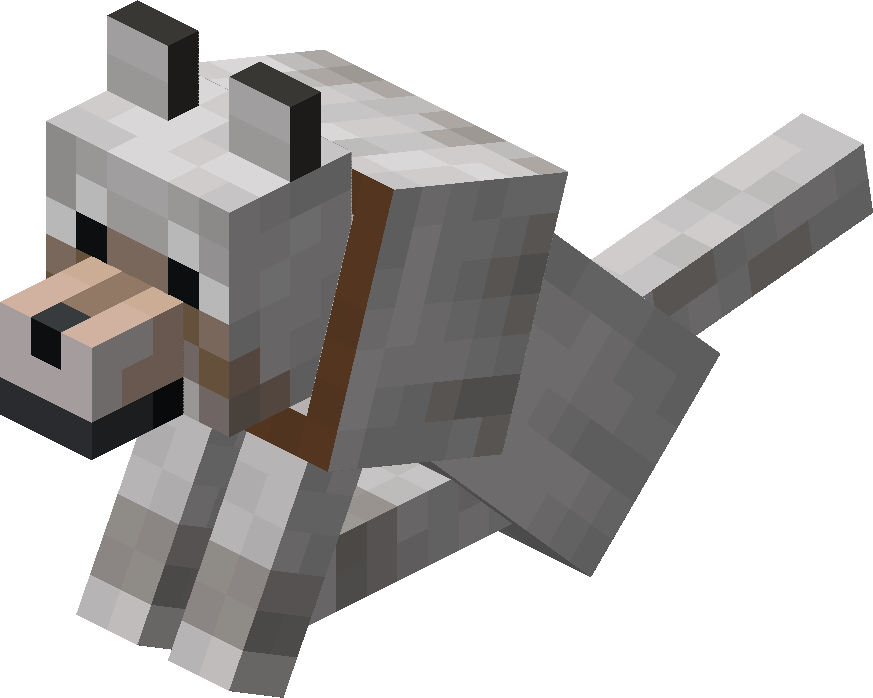 Sitting Tamed Wolf with Brown Collar.png