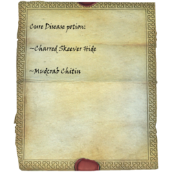Cure Disease potion: Charred Skeever Hide, Mudcrab Chitin