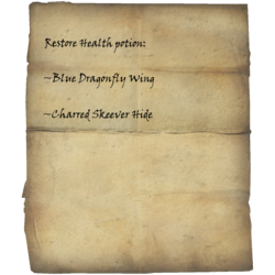 Restore Health potion: Blue Dragonfly Wing, Charred Skeever Hide