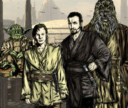 Dooku as a Jedi Knight with his Padawan, Qui-Gon Jinn, and Masters Yoda and Tyvokka.