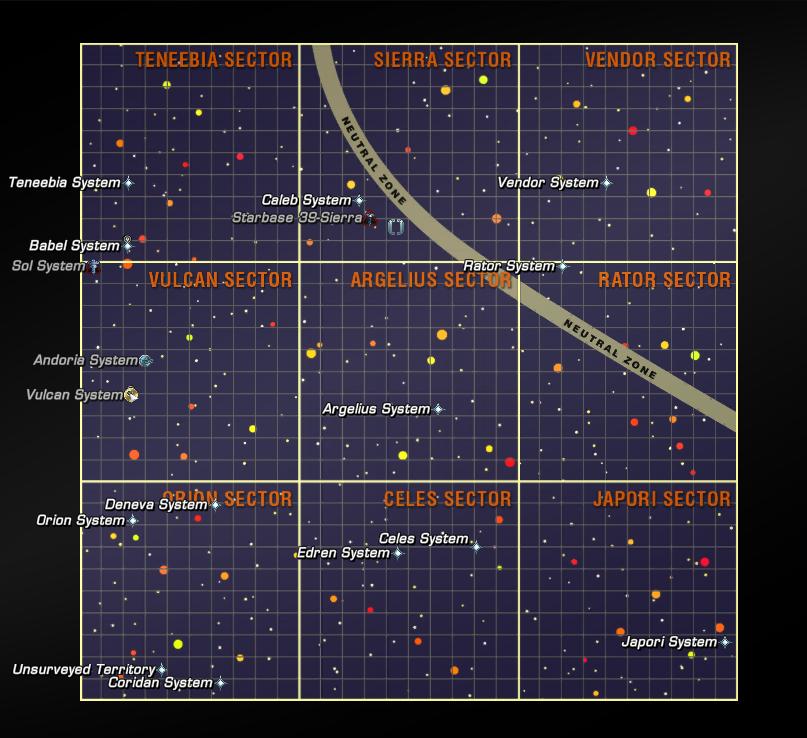 Karte des Beta-Quadranten in 2270