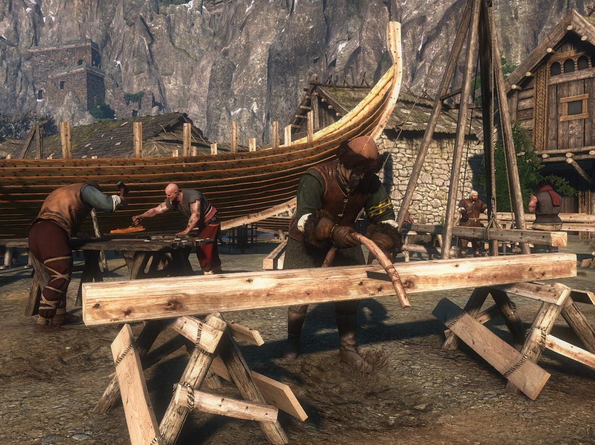 """Screenshot aus """"The Witcher 3: Wild Hunt"""", Bootsbauer im Hafen von Kaer Trolde"""