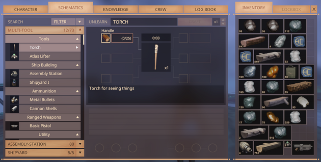 Multi-Tool crafting screen as of Alpha 5.1
