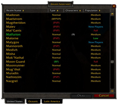 Realm selection screen for North American realms