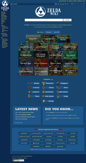 Screenshot of the Zelda Wiki Main Page