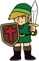 TLoZ Link Holding Sword and Shield Artwork 2.png