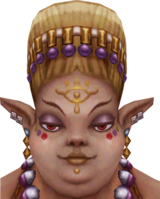 The eye symbol on Madame Fanadi's forehead in addition to her red eyes have led many to believe she is a Sheikah.