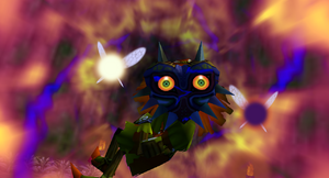 personnage skull kid avec masque de majora dans jeu zelda majora's mask sur nintendo 64