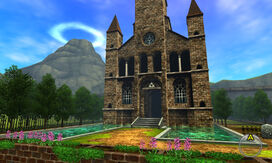 The outside of the Temple of Time, as seen in Ocarina of Time 3D