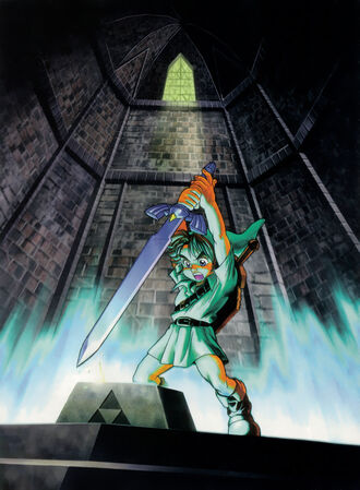 Young Link claims the Master Sword