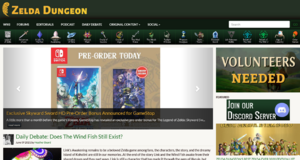 Screenshot of the Zelda Dungeon homepage