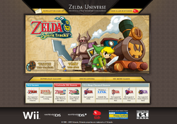 Screenshot of the Zelda.com homepage