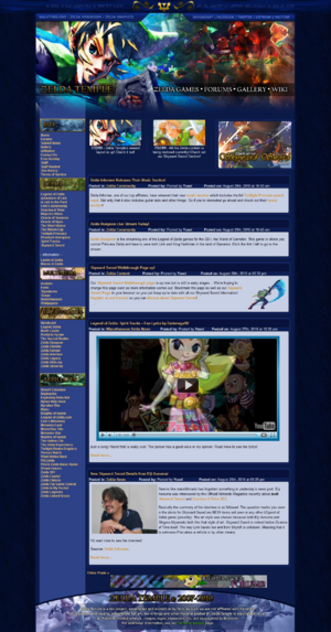 Screenshot of the Zelda Temple homepage