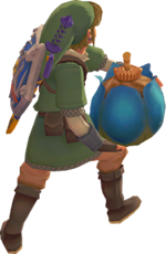 Link about to roll a Bomb in Skyward Sword