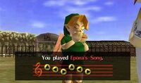 "Link playing """"Epona's Song"""" in Ocarina of Time"
